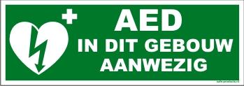 """AED pictogram sticker met tekst """"AED in dit gebouw aanwezig"""""""